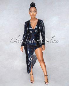 de4d4443842 Eve Black Iridescent Sequins Asymmetrical Slit Dress