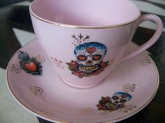 Tattoos on Pink Vintage Cup and Saucer