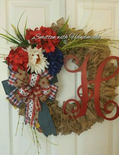 Red White & Blue Patriotic Ruffled Burlap Wreath  w/Choice of Monogram Initial #Handmade