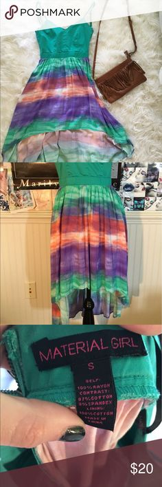 ⚡️SALE TODAY ONLY⚡️ Material Girl - Dress Watercolor Hi Low Dress - Small - Open Back Material Girl Dresses High Low