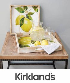Beautiful art prints are transformed onto this set of Bright Lemon Print Trays! The bold colors of nature bring unique natural charm to these pieces.