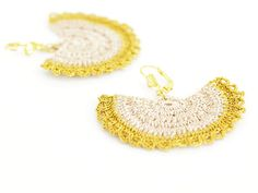 Crocheted Bridal Dangle Earrings Gold  Ivory OOAK by PinaraDesign, $12.00