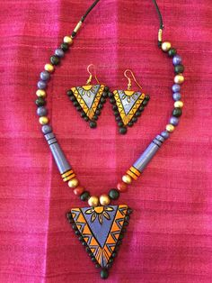 Handmade Terracotta Jewelry - Purple & Orange