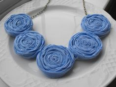 Periwinkle Rosette Necklace Fabric Roses by JessieKateDesigns, $25.00