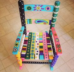 Colorful hand painted children's chair
