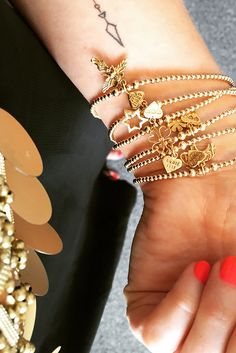 Santeenie Gold Charm Bracelet - perfect for an evening outfit. Available from Annie Haak