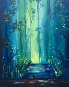 Learn to Paint Glowing Forest tonight at Paint Nite! Wine And Canvas, Forest Painting, Unicorn Painting, Easy Paintings, Learn To Paint, Art Plastique, Painting Inspiration, Painting & Drawing, Cool Art