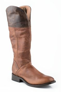 Stetson Womens Cowboy Boots Brown 15in Shiny Chestnut Leather English Toe