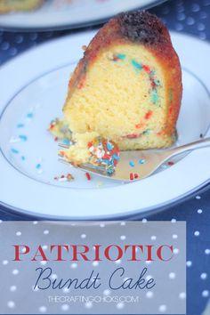 Patriotic Bundt Cake #recipe #dessert #4thofjuly