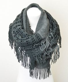 Another great find on #zulily! Leto Collection Dark Gray Lattice Tassel Infinity Scarf by Leto Collection #zulilyfinds