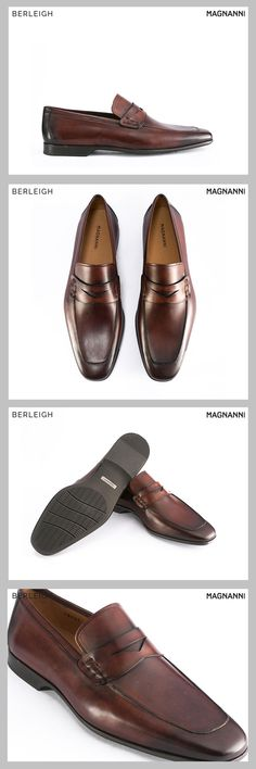 35d08a6abf08a9 Magnanni apron toe mid brown penny loafer  Made from the best premium  leather