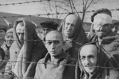 Liberated inmates of Auschwitz behind barbed wire.