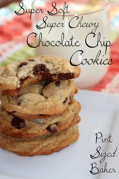 Soft Chocolate Chip Cookies Recipe #Chocolate Chip #cookies #chocolatechipcookies