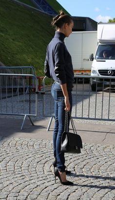 navy, jeans, heels