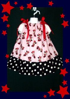 Minnie Mouse Dress 3T Girls Custom Boutique Disney & Minnie Mouse Hair Bow NEW - for sale now on ebay! $7.00 for the 3 pc set!! Search ebay now for item number 200915837308