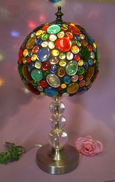 glass nuggets lamp shade with base 367