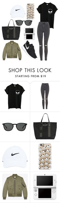 """Mostly black and white"" by aamevl on Polyvore featuring Topshop, Oliver Peoples, Yves Saint Laurent, NIKE, Casetify and Nintendo"