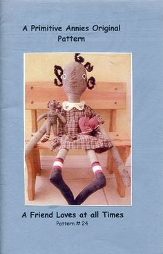 FREE US SHIP Primitive Annies Original Pattern Dolls A Friend Loves At All Times Folk Art Uncut Old Store Stock Sewing Pattern Ragdoll by LanetzLivingPatterns on Etsy