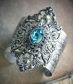 Something Blue Cuff Metal Clay Jewelry, Jewelry Box, Jewelery, Jewelry Accessories, Jewelry Necklaces, Bullet Jewelry, Fantasy Jewelry, Gothic Jewelry, Silver Jewelry