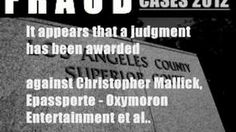 Christopher Mallick Trouble. Legal Fraud Case.  Oxymoron Entertainment on Video.