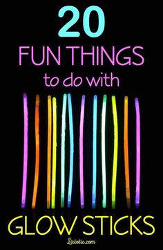 Cool Glow Stick Ideas Awesome list of fun glow stick ideas with pictures! ) Who knew there were so many fun things to do with them!Awesome list of fun glow stick ideas with pictures! ) Who knew there were so many fun things to do with them! Disco Party, Glow Party, Spa Party, Party Fun, Summer Activities, Craft Activities, Camping Activities, Camping Ideas, Outdoor Activities