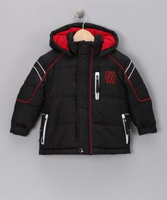 Take a look at this Black & Red Puffer Coat - Toddler & Boys by Urban Republic on #zulily today!