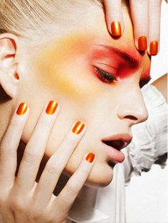 Laurence Laborie : Love his work! Love Makeup, Makeup Art, Makeup Looks, Fun Makeup, Anastasia, Flawless Face Makeup, Glam Look, Orange Makeup, Special Makeup