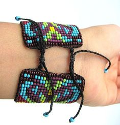 Seed Beaded Bracelet Water Earth design Native Beadwork