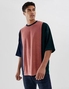 Shop the latest ASOS DESIGN oversized t-shirt with half sleeve in towelling with vertical color block trends with ASOS! Mens Catalogue, Mens Designer Shirts, Aesthetic Shirts, Custom Clothes, Men Clothes, Half Sleeves, Mens Tees, Menswear, Men Casual