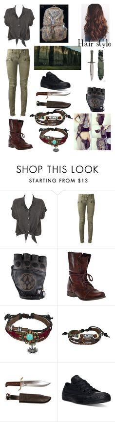 """Young and Beautiful (The Maze Runner)"" by xxkawaiiunicornxx on Polyvore featuring Evil Twin, Balmain, Steve Madden, Bling Jewelry, RIFLE and Converse"