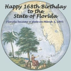 FL became the 27th state on March 3, 1845- This glass symbol now hangs in the Museum of Florida History-