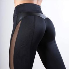 (1) Sexy Mesh Leather Patchwork Black Leggings Women High Waist Fitness – ASHORE SHOP Mesh Yoga Pants, Mesh Leggings, Sports Leggings, Leggings Are Not Pants, Women's Leggings, Black Leggings, Leggings Fashion, Black Workout Leggings, Workout Pants