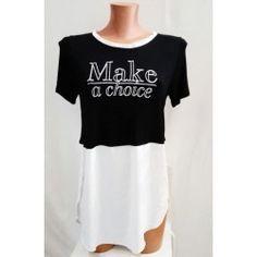 T Shirt maglietta bianca e nera donna TAGLIA L Make a choice con aperture laterali