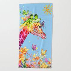 Oversized Beach Towels, Wear Sunscreen, Meet The Artist, Good Mood, White Cotton, Watercolor Art, Giraffe, Swimming, Artwork