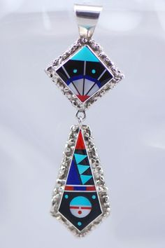 Zuni Inlaid Sterling Silver Pendant | Authentic Zuni Inlay Jewelry | Native American Indian Jewelry