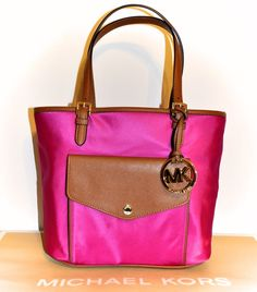 7237b69b82 Michael Kors Jet Set Fuschia Pink Medium Multifunction Pocket Purse Tote Bag  NWT