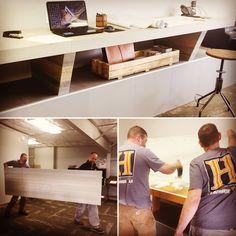 Standing Work desk creating using think panel porcelain tile