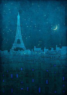 Ah... a cresent moon over Paris ...