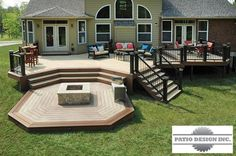 10 Design Ideas Determining Your Multi level Decks 2019 Multi-level Deck with Firepit AZEK Decking The post 10 Design Ideas Determining Your Multi level Decks 2019 appeared first on Backyard Diy. Backyard Patio Designs, Large Backyard, Backyard Landscaping, Landscaping Ideas, Landscaping Around Deck, Desert Backyard, Sloped Backyard, Backyard House, Modern Backyard