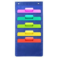 5 Pocket Hanging File Folder Organizer, Cascading Wall Organizer with 2 Hangers - Ideal for Organize Your Assignments, Files, Scrapbook Papers & More (Blue) Hanging File Organizer, Letter Organizer, Hanging File Folders, File Organiser, File Folder Organization, Bill Organization, Classroom Organization, Hanging Letters, Hanging Files