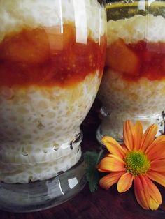 Desert la pahar cu cus-cus si gutui - CAIETUL CU RETETE Camembert Cheese, Caramel, Pudding, Desserts, Food, Sticky Toffee, Tailgate Desserts, Candy, Deserts