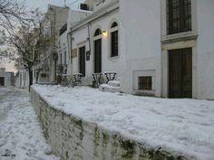 Snowy Apeiranthos, Naxos, Greece