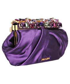 Black Tessuto nylon Prada clutch with gold-tone hardware, pleat accents at exterior, black logo jacquard lining and zip closure at top. Shop authentic designer handbags by Prada at The RealReal. Purple Love, Mode Purple, Purple Stuff, Purple Bags, Purple Lilac, Shades Of Purple, Purple Purse, Purple Satin, Prada Clutch