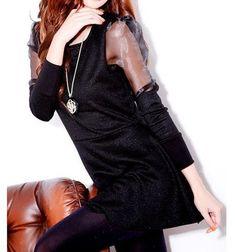 Puff Sleeve Black Silver A Line Club Dress