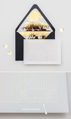 We love photographer Edyta Szyszlo. She is one stylish lady and for her wedding Save the Date invitation she created a hidden surprise message, pressed in gold foil. We love a bespoke envelope liner, and Edyta created a whole family of them with gold foil and repeat scallop prints splashed across the insides of envelopes.