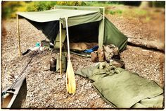 Wynnchester Baker Tent and canvas bedroll, canoe camp, Scotland.