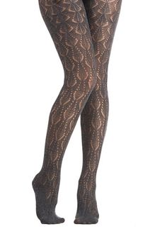 From the Hearth Tights in Charcoal - Sheer, Knit, Grey, Solid, Formal, Holiday Party, Luxe, Best, Variation