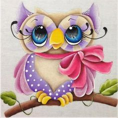 Cartoon Owl with Pink Bow. Square drill, 5 kit sizes to pick from. Owl Clip Art, Purple Owl, Cross Paintings, Cute Owl, Diy Painting, Decoration, Sewing Crafts, Cross Stitch, Owl Png