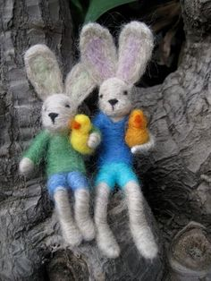Needle Felted Bunny Boy and chicken one boy with one by boridolls, $28.00