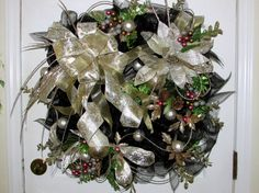 Christmas wreath Christmas deco mesh by Southernbornnblessed, $79.00